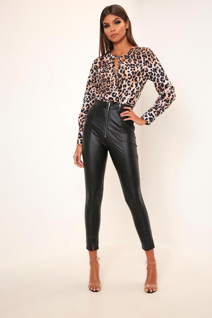 Black Faux Leather Zip Front Leggings - 8 / BLACK von ISAWITFIRST.com