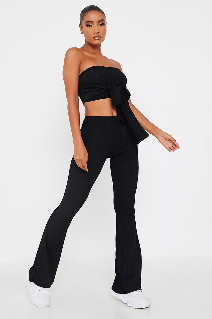 Black Front Tie Bandeau Top And Flares Set - 4 / BLACK von ISAWITFIRST.com