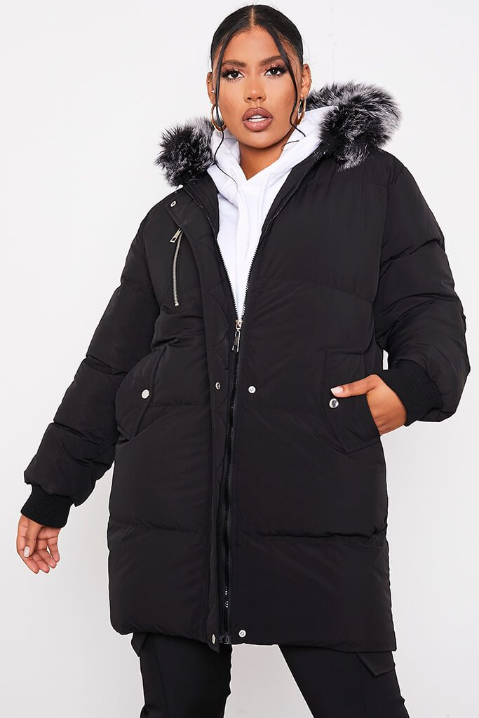 Black Long Line Padded Parka With Faux Fur Hood - 6 / BLACK von ISAWITFIRST.com