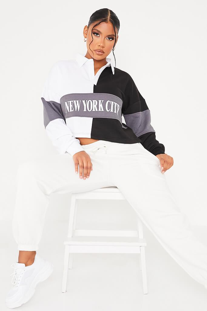 Black New York Slogan Colour Block Oversized Rugby Top - 16 / BLACK von ISAWITFIRST.com