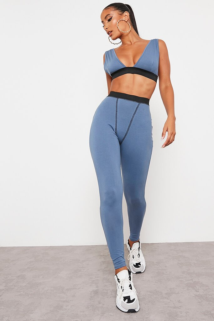 Blue Cotton Contrast Seam Leggings - 10 / BLUE von ISAWITFIRST.com