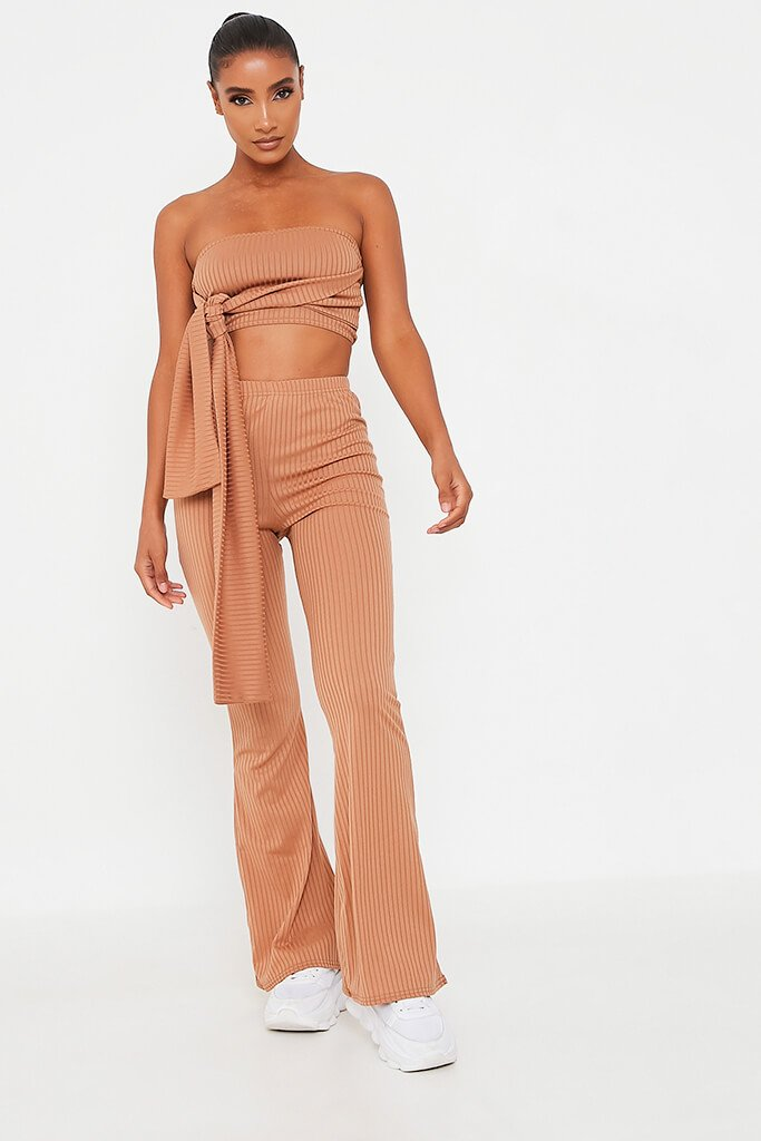 Camel Front Tie Bandeau Top And Flares Set - 12 / BEIGE von ISAWITFIRST.com