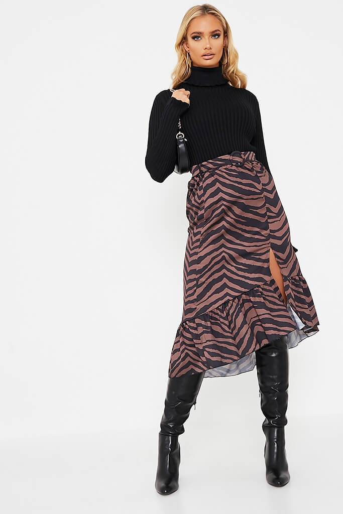 Chocolate Zebra Print Belted Split Front Midi Skirt - 8 / BROWN von ISAWITFIRST.com