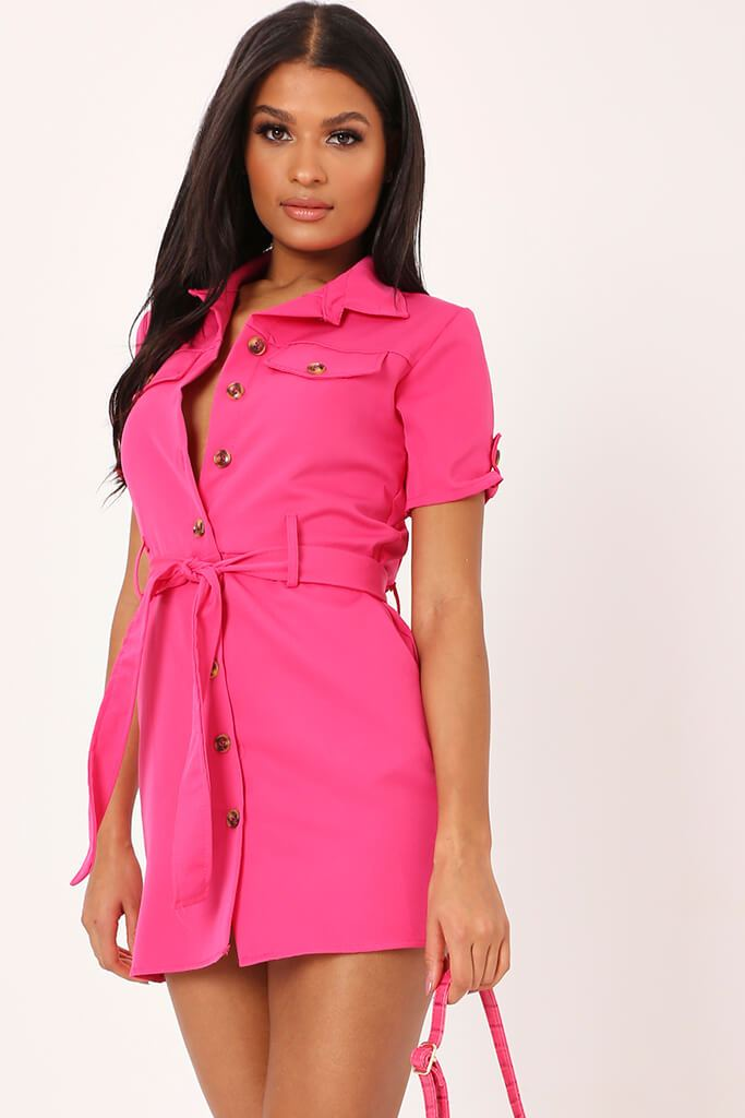 Fuchsia Utility Stretch Crepe Mini Dress - S / PINK von ISAWITFIRST.com