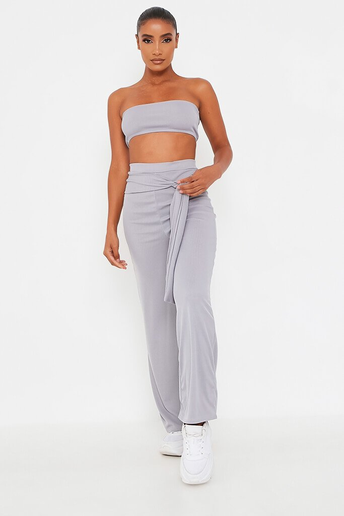 Grey Bandeau Top And Tie Front Trousers Set - 12 / GREY von ISAWITFIRST.com