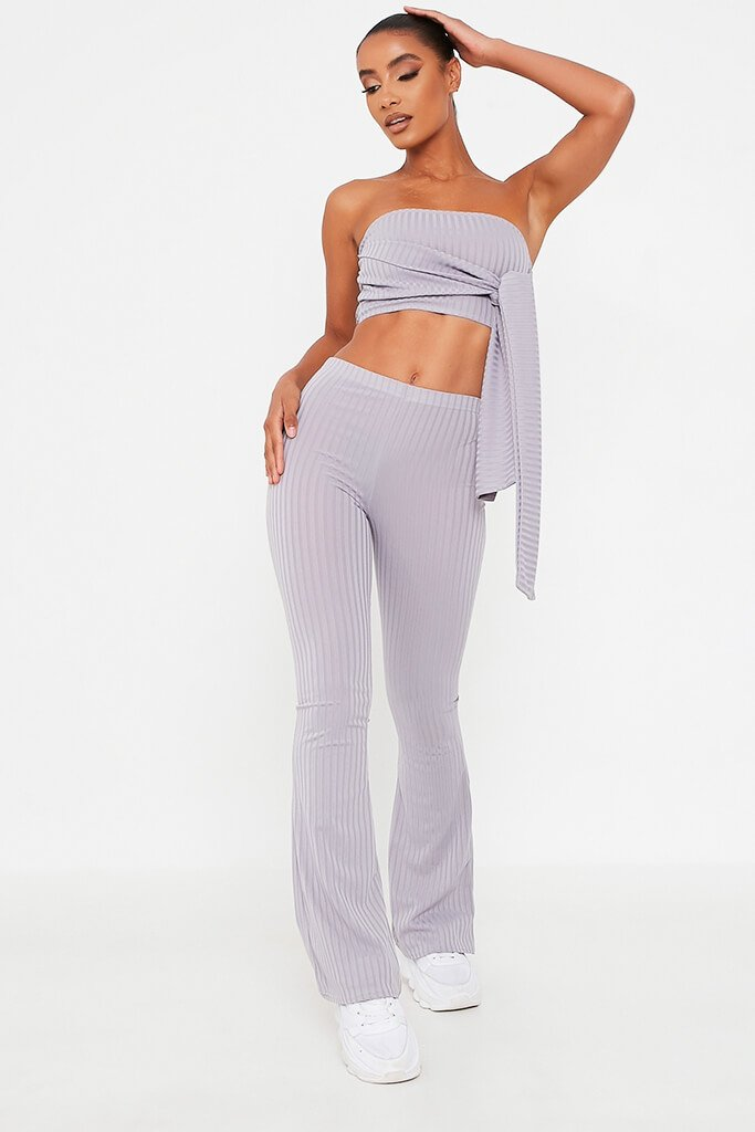 Grey Front Tie Bandeau Top And Flares Set - 4 / GREY von ISAWITFIRST.com