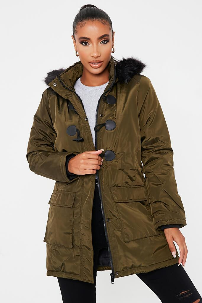 Khaki Faux Fur Hooded Parka Jacket - 14 / GREEN von ISAWITFIRST.com