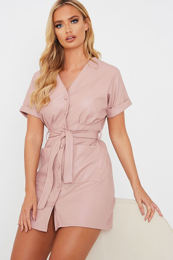 Pink Faux Leather Short Sleeve Belted Utility Dress - 10 / PINK von ISAWITFIRST.com