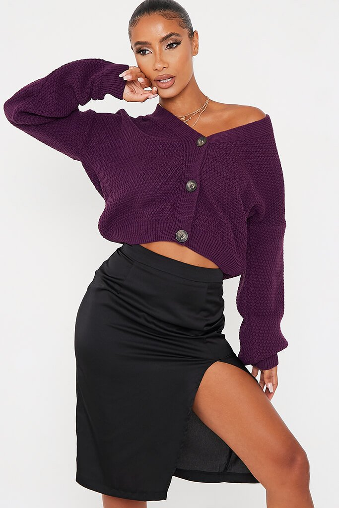 Plum Button Through Knit Cardigan - S / PURPLE von ISAWITFIRST.com