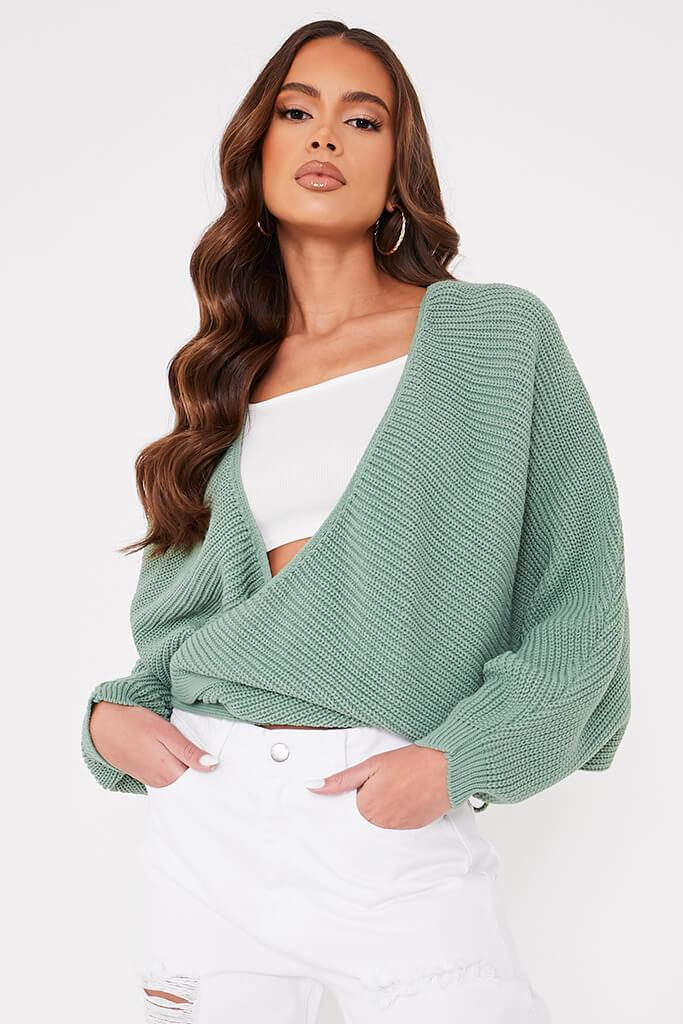 Sage Long Sleeve Chunky Wrap Cardigan - S / GREEN von ISAWITFIRST.com