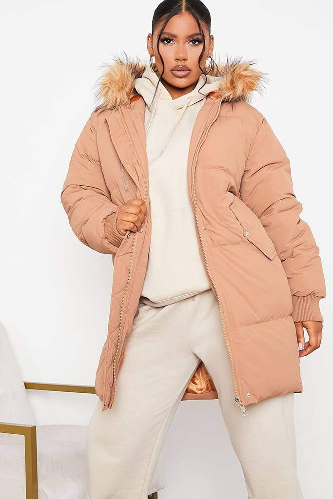 Tan Long Line Padded Parka With Faux Fur Hood - 8 / BROWN von ISAWITFIRST.com