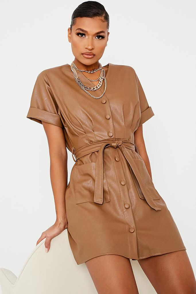 Taupe Faux Leather Short Sleeve Belted Utility Dress - 14 / BEIGE von ISAWITFIRST.com