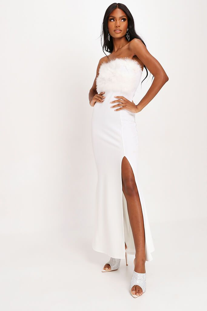 White Feather Top Bandeau Maxi Dress - 14 / WHITE von ISAWITFIRST.com