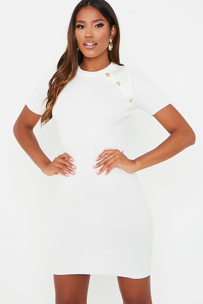 White Short Sleeve Knitted Dress With Military Button - L/XL / WHITE von ISAWITFIRST.com