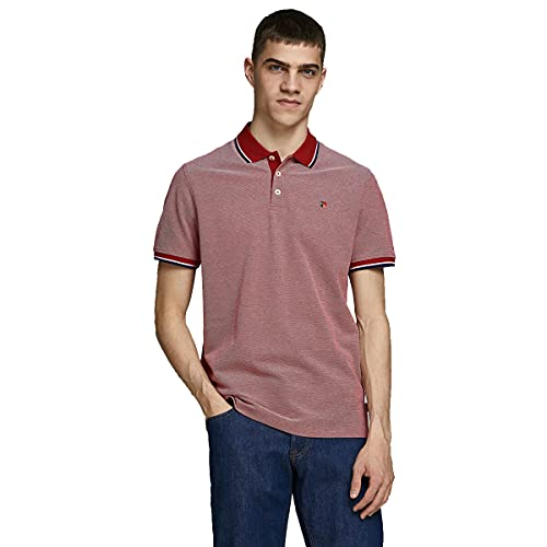 JACK & JONES Herren JPRBLUWIN Polo SS STS Polohemd, Red Dahlia, XL von JACK & JONES