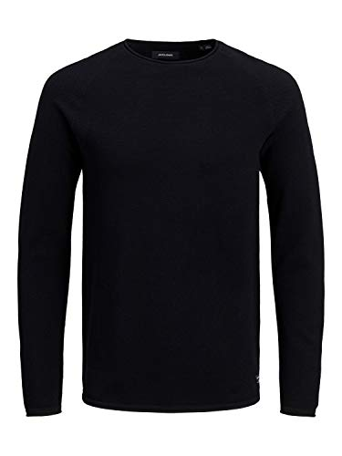 JACK & JONES Herren Jjehill Knit Crew Neck Noos Pullover Sweater, Black, L EU von JACK & JONES