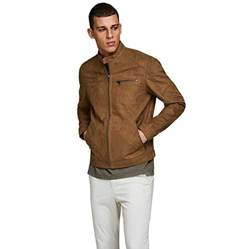 JACK & JONES Male Lederjacke Faux XSCognac 2 von JACK & JONES
