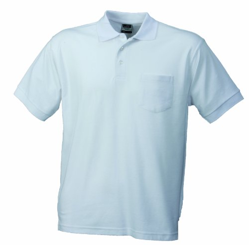 James & Nicholson Herren Poloshirt Polo - Pique - Pocket, Gr. Small, Weiß von James & Nicholson