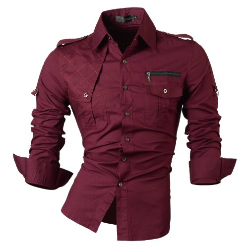 jeansian Hombre Camisas Solid manga larga Slim Fit Moda Hombre Casual Camisas mangas largas 8371 WineRed L von Jeansian