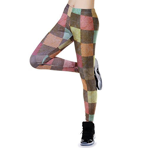 JewelryWe Damen Strumpfhose Sport Kariert Plaid Print Yoga Leggings Workout Fitness Running Pants Hose Mehrfarbig - Größe XL(EU 40-42) von JewelryWe
