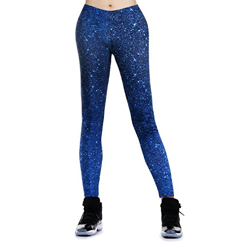 JewelryWe Damen Strumpfhose Sport Printed Sternenhimmel Yoga Leggings Workout Fitness Running Pants Hose Blau - Größe L(EU 38-40) von JewelryWe