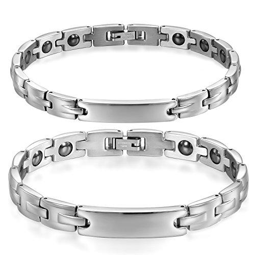 ee97527035a3 JewelryWe Schmuck 2pcs Armband Edelstahl Partner Freundschaft Armketten  allergiefrei Armbänder Silberweiß für Armreif 20,5cm