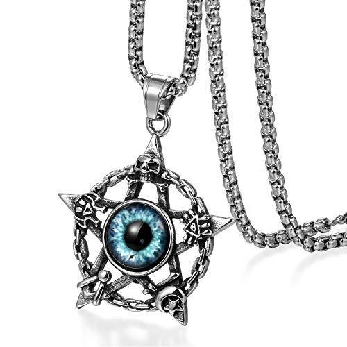 JewelryWe Schmuck Herren Halskette Edelstahl Retro Pentagramm F/ünfzackigen Stern Amulett Anh/änger mit 55cm Kette Geschenk Silber