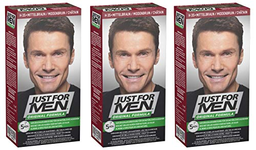 Just for Men - H35 - Haarfärbemittel, Pflege Tönungs Shampoo, Natur Mittelbraun, 3er Pack von Just for men