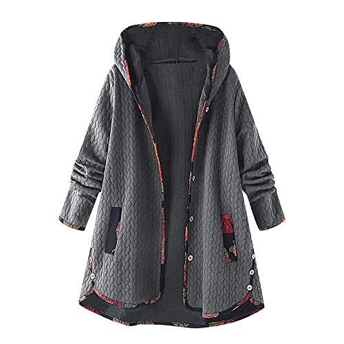 YMING Damen Winter Warmer Mantel Lange Kapuze Oberbekleidung Zweireihige Wollmantel Revers Wickel Outwear Mit Taschen