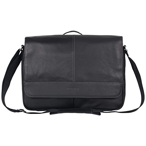 Kenneth Cole Reaction Risky Business Full-Grain Colombian Leather Crossbody Laptop & Tablet Flapover Messenger Bag, Black von Kenneth Cole REACTION