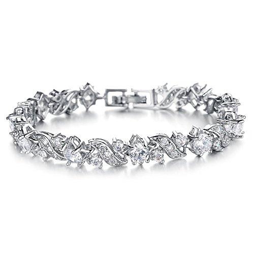 Kim Johanson Damen Edelstahl Tennis Armband Wave mit Cubic Zirkonia  Steinchen besetzt in Silber inkl. 6083b708d6