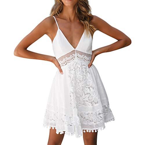 ef5d23bbcc7d2f Kleid Damen Kolylong Frauen Elegant V-Ausschnitt Spitze Ärmelloses Kleid  Kurz Festlich Rückenfrei Kleider Spitzenkleid