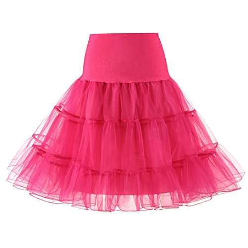Rock Damen Kolylong® Frauen Elegant Petticoat Reifrock Vintage Tüllrock Tutu Tanzen Rock Unterrock Underskirt Ballett Rock Party Festlich Skater Röcke Crinoline Rockabilly Kleid (XL, Pink) von Kolylong®