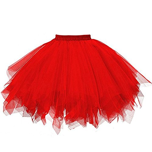 Rock Damen Kolylong® Frauen Elegant Tüllrock Knielang Vintage Tanzkleid Party Tutu Rock Abend Festlich Ballett Tüll Ballett-Blase Skater Rock Unterrock puffrock Minikleid (One Size, Rot) von Kolylong®