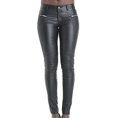 LAEMILIA Leggings Lederleggings Stretch Skinny Low Waist Hose in Leder-Optik Treggins Smooth Strumpfhose Lederoptik Slim Schwarz von LAEMILIA