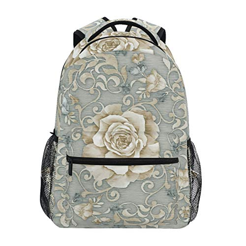 Graue Blume Rose Kunst Schulter Student Rucksacks Bookbags Kinderrucksack Büchertasche Rucksäcke für Teen Mädchen Jungs von LDIYEU