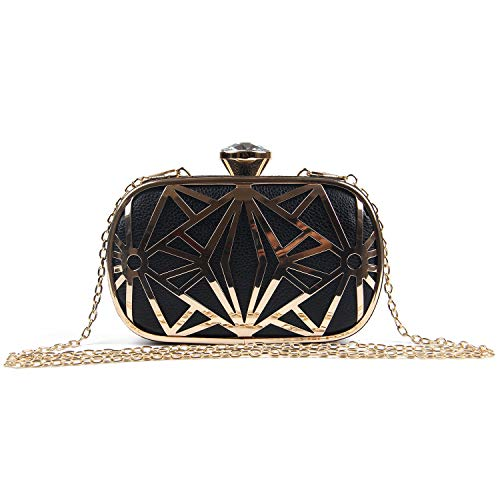 0182fbe2bbd00 LUI SUI Frauen Kunstleder Metall Hohl Clutch Bag Exquisite Abend  Handtaschen Schultertasche für Party Cocktail Hochzeit