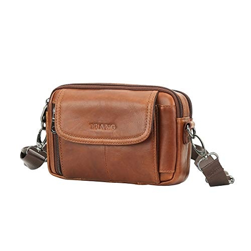 Garyesh Leather Belt Bag Genuine Leather Waist Pack for Men Hiking