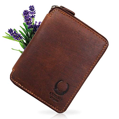 e98ac30d9f876e Damen Leder Geldbörse mit Reißverschluss, Herren Geldbeutel RFID Schutz,  Vintage Portemonnaie in Geschenkbox braun