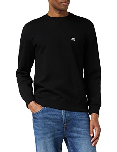 Lee Herren Plain Crew Sweatshirt, Schwarz (Black 01), Small von Lee