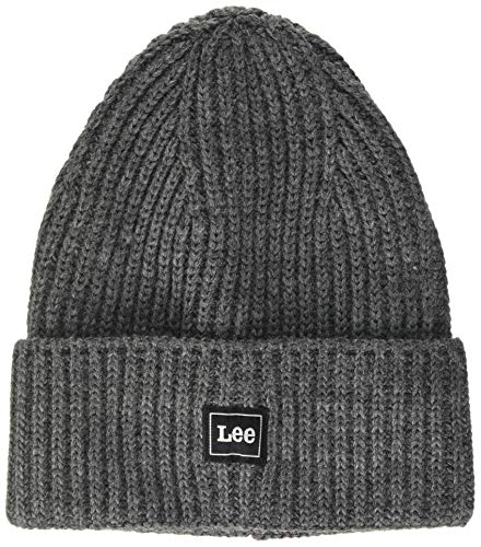 Lee Homme Rib Beanie Strickmütze, Gris (Dark Grey Mele 06), Taille Unique von Lee