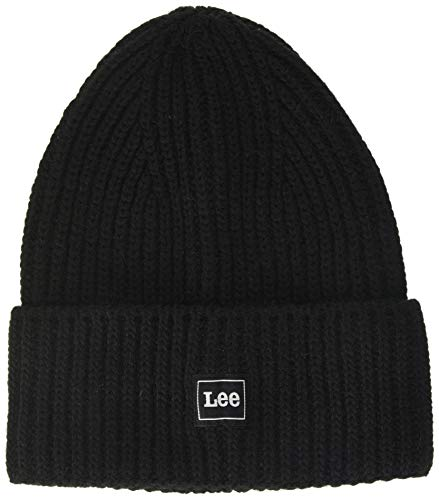 Lee Homme Rib Beanie Strickmütze, Noir (Black 01), Taille Unique von Lee