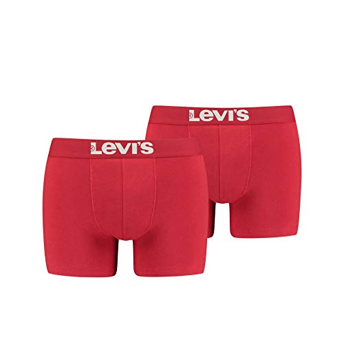 Levi's Herren Levis Men SOLID Basic Boxer 2P Boxershorts, Rot (Chili Pepper 186), Medium (Herstellergröße: 020) (2er Pack) von Levi's