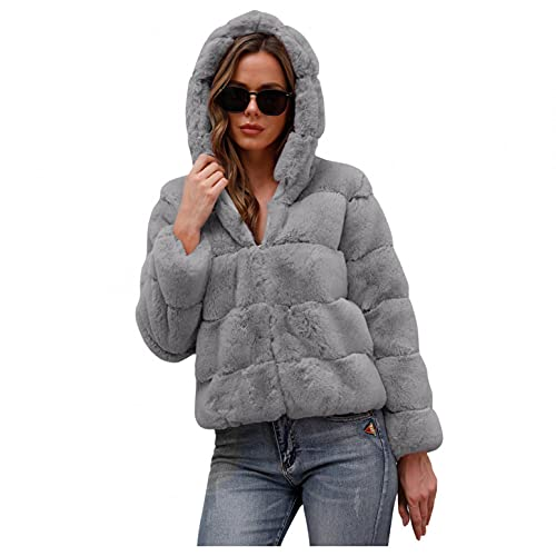 Lialbert Kunstpelz Mantel Lang Damen Kunstfell Mantel mit Kapuze, Faux Pelz Mäntel Pelzmantel Felljacke Warme Plüschmantel Lose Teddyfell Parka Elegant Overcoat Winter Hooded von Lialbert