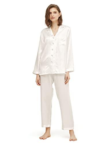 2528d0e37d5b90 LilySilk Elegante Seide Nachtwäsche Schlafanzug Pyjama Damen Lang Hausanzug  16 Momme (XL, Natur)