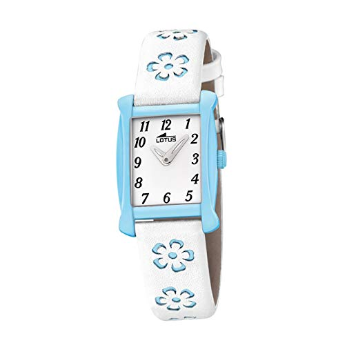 LOTUS Kinder-Uhr Junior Collection Analog Fashion Leder-Armband weiß blau Quarz-Uhr UL18255/3 von Lotus