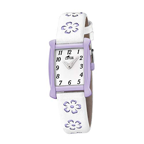 LOTUS Kinder-Uhr Junior Collection Analog Fashion Leder-Armband weiß lila Quarz-Uhr UL18255/4 von Lotus