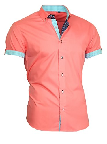 Louis Binder de Luxe Herren Hemd Shirt Modern Fit Kurzarm Button-Down-Kragen 833 Lachs XL 44 von Louis Binder de Luxe
