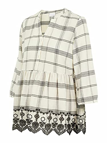 MAMALICIOUS Damen MLHANNI LIA 3/4 Woven TOP NF A. T-Shirts, Parchment/Checks:YD Check Parchment and Black, L von MAMALICIOUS