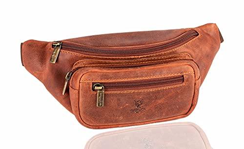 f2a3f87593703 Matador Leder Bauchtasche Damen Herren Festival Hüfttasche Gürteltasche  Freizeittasche Leder-Tasche Antik Braun viele verstauungsmöglichkeiten
